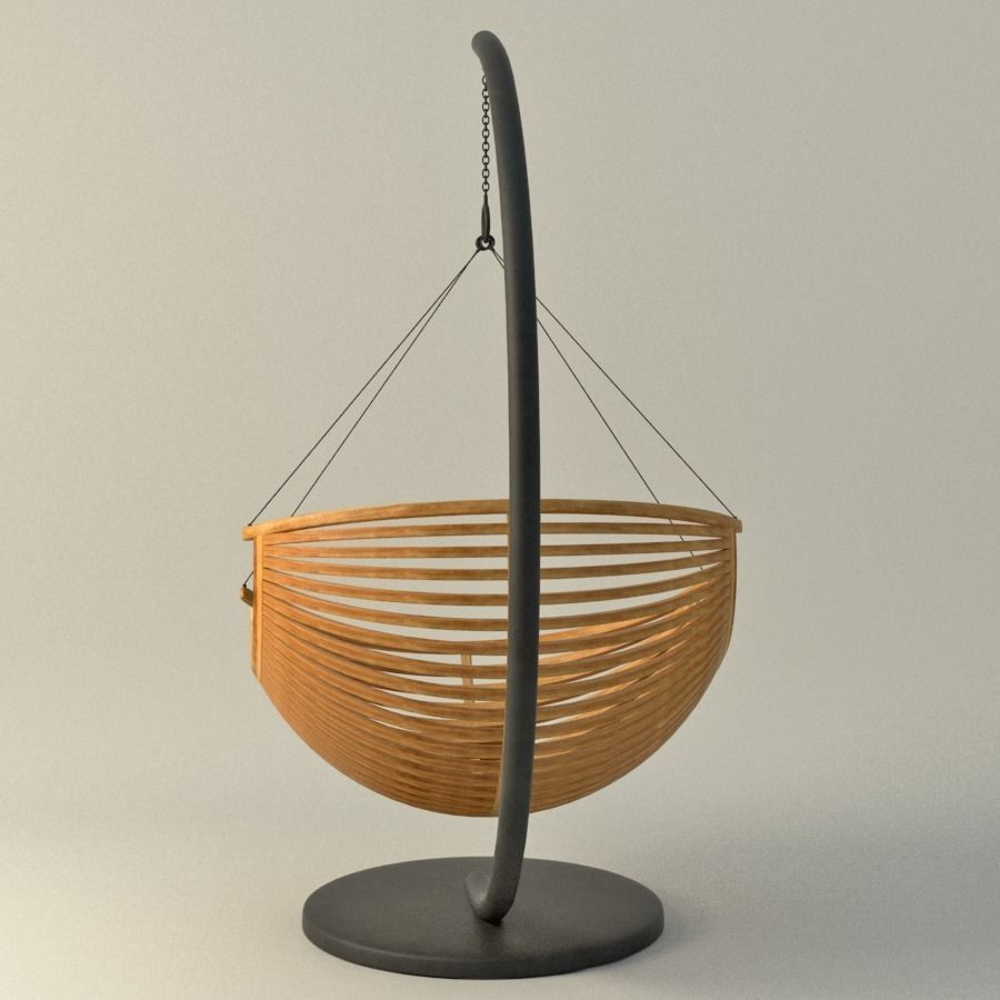 Wood Hanging Chair 3D Model MAX OBJ FBX MA MB MTL ...