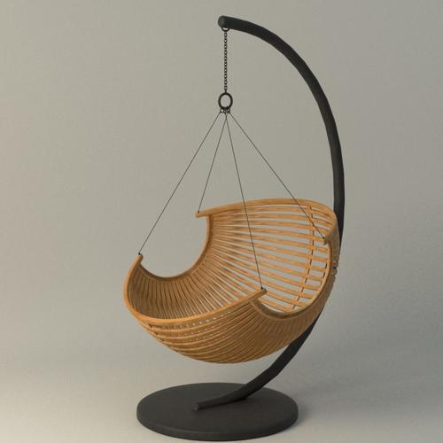 wood hanging chair 3d model max obj mtl fbx ma mb 1