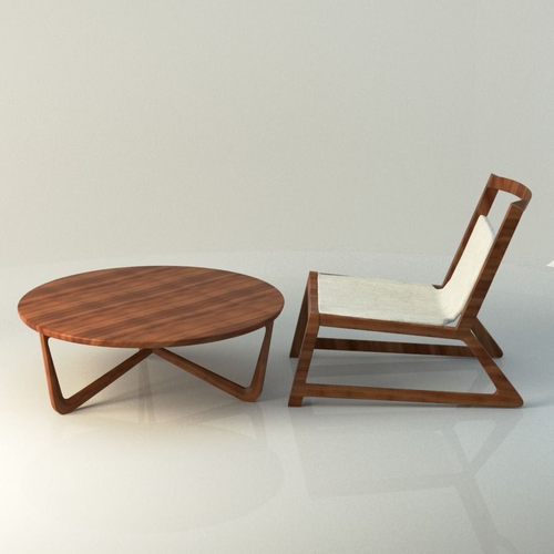modern wooden table and chair 3d model max obj mtl fbx ma mb 1