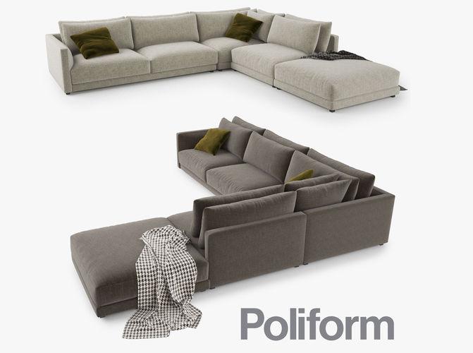 poliform bristol sofa 3d model 3d model max obj mtl 3ds fbx 1