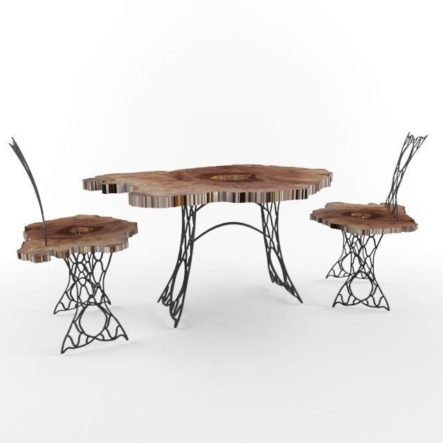 Rod Iron Table And Chairs Part - 38: Trunk And Wrought Iron Table And Chairs 3d Model Max 1 ...