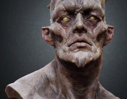 creature bust 3d model obj ztl