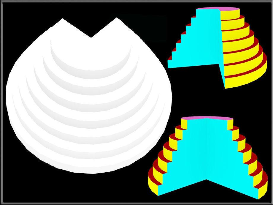 Three quarters pyramid display