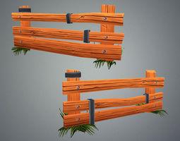 3D asset Low Poly Farm Fence