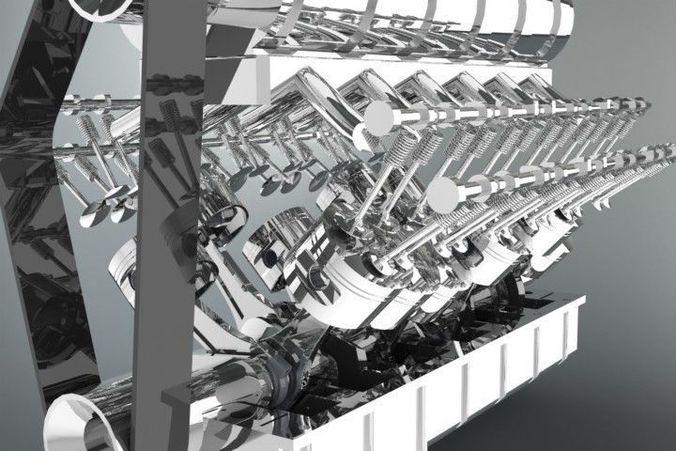 v12 engine 3d model sldprt sldasm slddrw 1