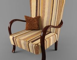 3d model hungarian cultic armchair with bended arms from 50s 60s years