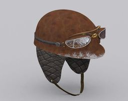 3d model low-poly 1955 driver helmet