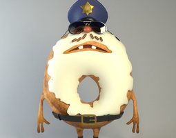 Donut sheriff Food creatures series 3D Model