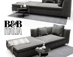 b b italia papilio bed 3d model max obj. Black Bedroom Furniture Sets. Home Design Ideas