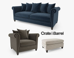 3D model Crate and Barrel Durham Sofa Collection