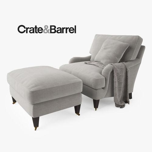 crate and barrel essex chair and ottoman 3d model max obj mtl fbx. Black Bedroom Furniture Sets. Home Design Ideas