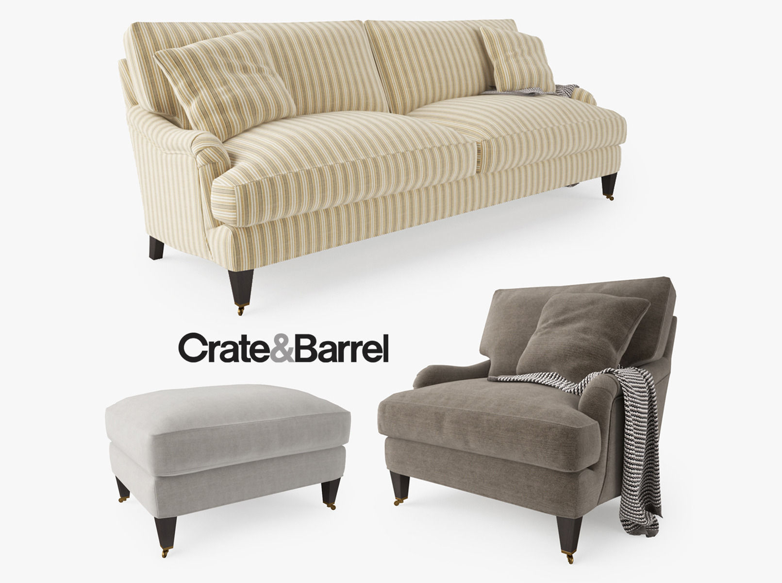 Crate and Barrel Essex Sofa Collection 3D model MAX OBJ FBX MTL