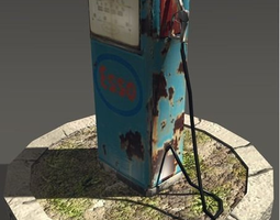 low-poly old gas pump 3d model