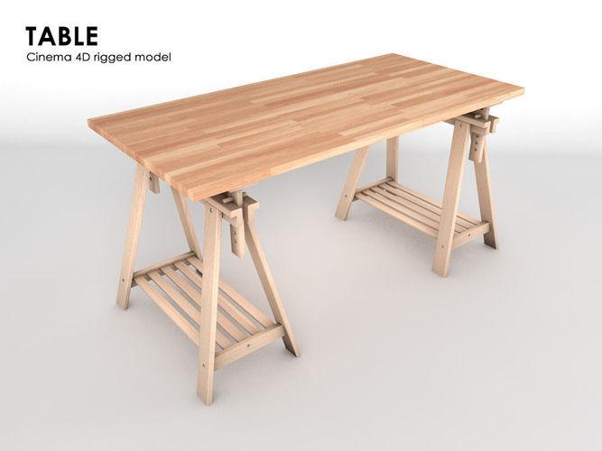 table 3d model low-poly rigged obj 3ds fbx c4d 1