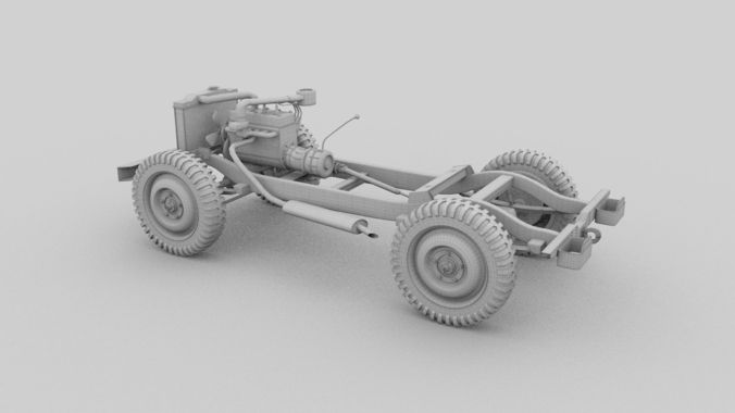 Souvent Full w chassis Jeep Willys MB Military HDRI 3D model OBJ FBX STL  EO28
