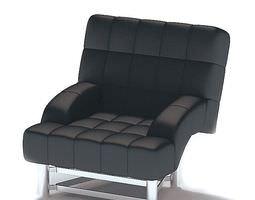 3D Modern Black Leather Armchair