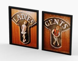3d model funny ceramic relief toilet signs ladies and gents