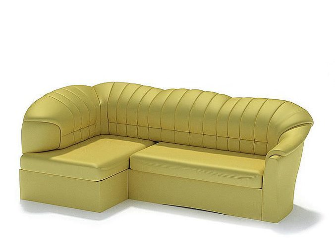 Yellow leather couch 3d cgtrader for Yellow leather sofa bed