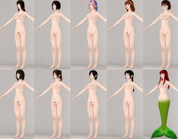 3d  t pose nonrigged model of 10 girls with various outfits