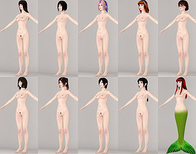 T pose nonrigged model of 10 girls with various outfits