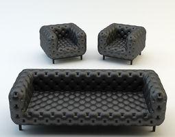 Chesterfield classic sofa armchair chair 3D Model