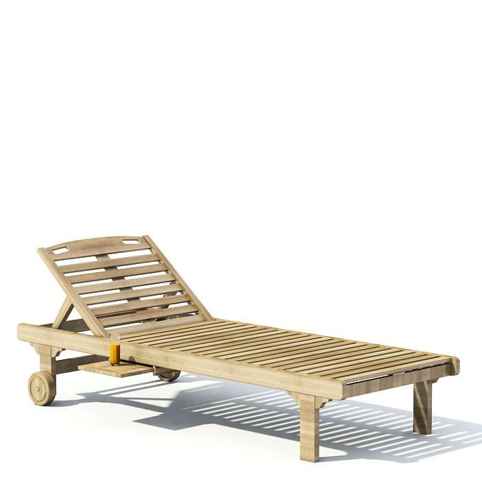 Wooden chaise lounge 3d model for Cedar chaise lounge plans