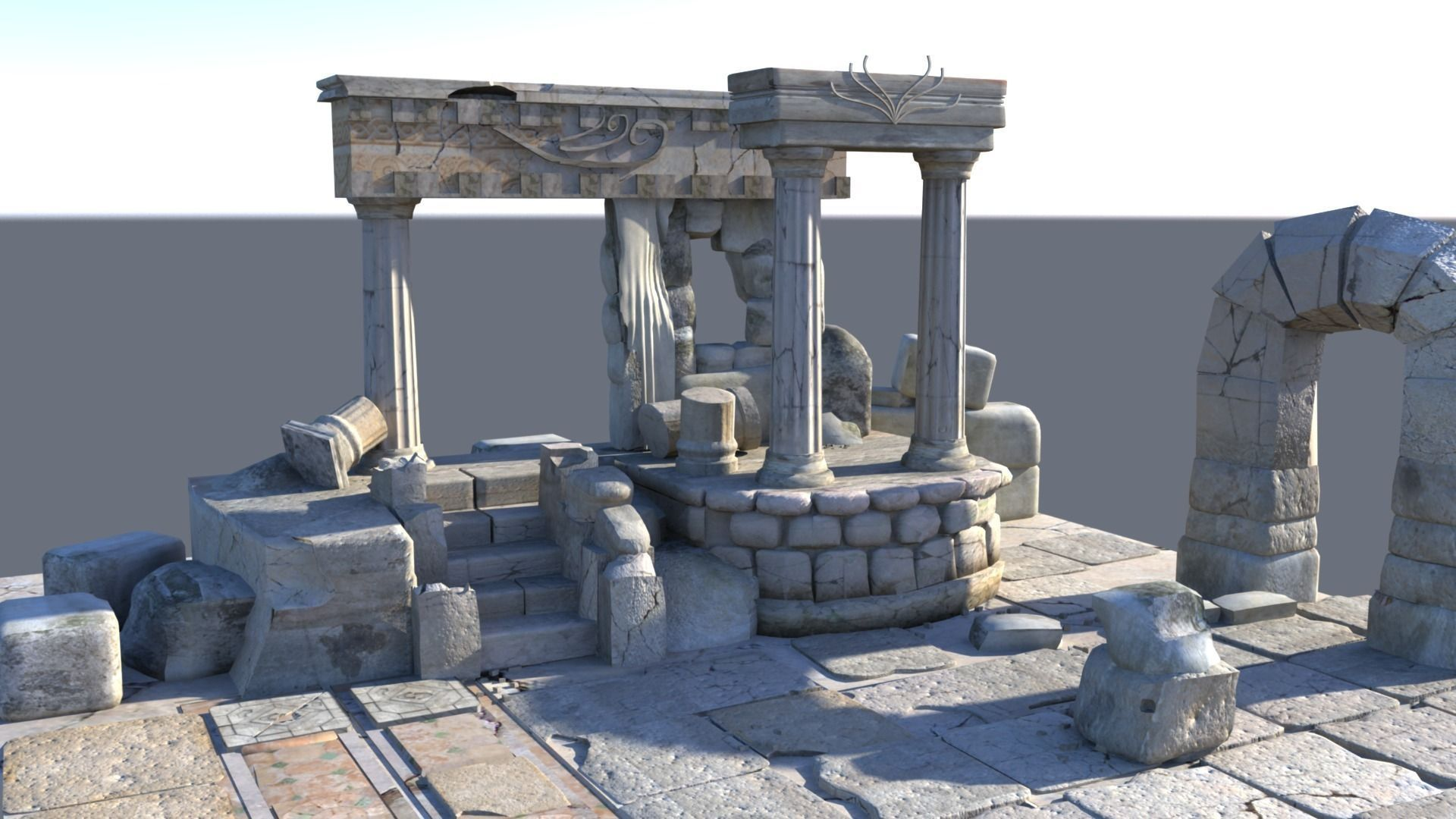 detailed temple ruins 3d model cgtrader