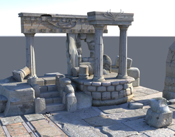 destroyed Detailed Temple Ruins 3D model