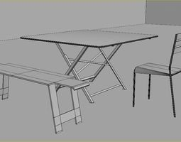 Garden folding table 3D asset
