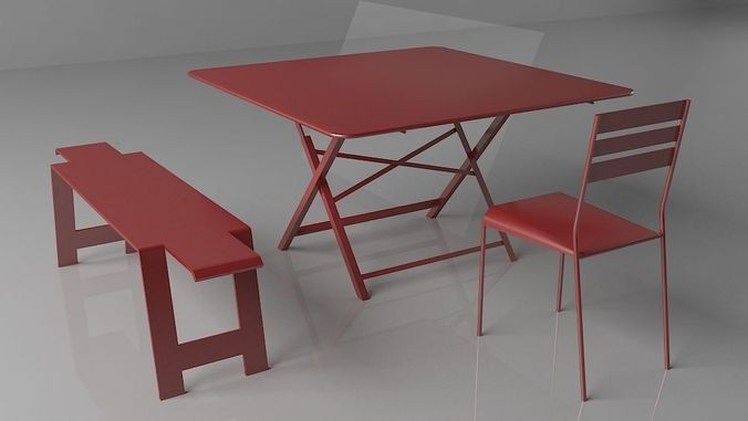 ... Garden Folding Table 3d Model Max Obj 3ds Fbx Mtl 3 ...