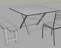 low-poly-challenge 3D asset garden table