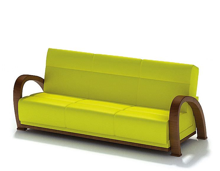 Yellow Modern Couch Wooden Arms Model