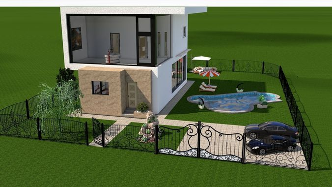 Modern House   Interior   Exterior Design 3D Model