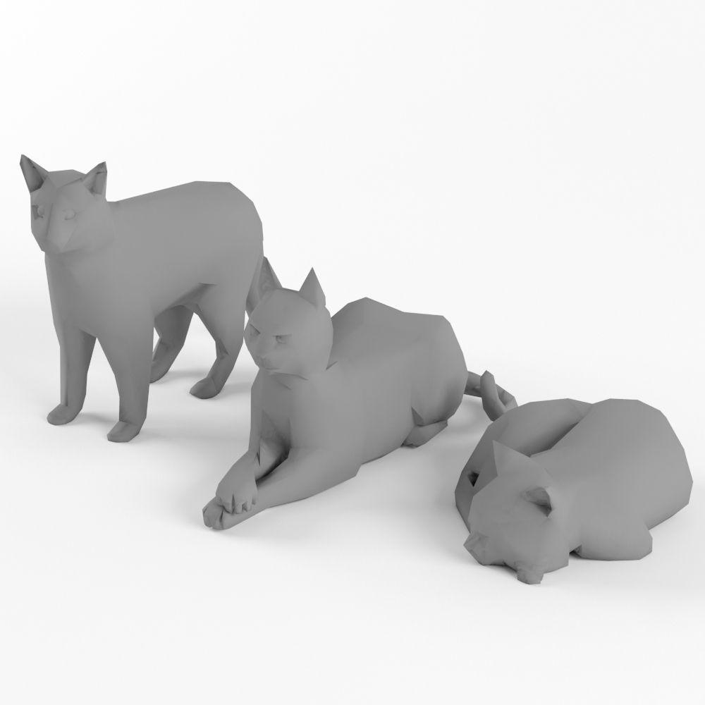 Image of: Design Low Poly Cat Set Animal Lowpoly 3d Model Lowpoly Max Obj Mtl Fbx Blend Swap Low Poly Cat Set Animal Lowpoly 3d Model Cgtrader