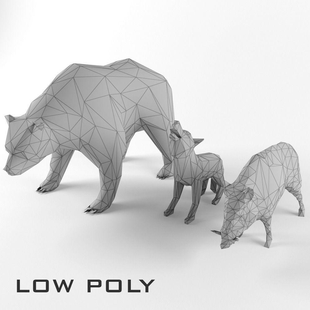Low Poly Bear Wolf Boar Wild Mammal Animal Set Pack Lowpoly