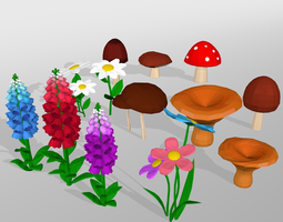 3D asset Mushroom and flower low poly set