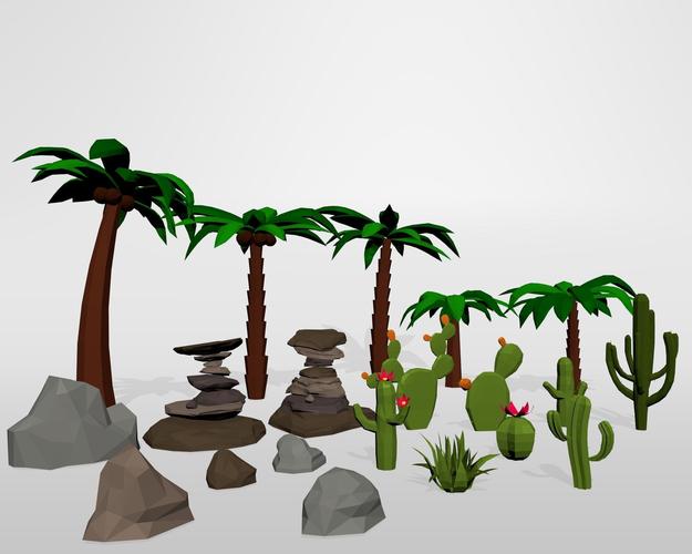 oasis desert low poly set 3d model low-poly max obj mtl 3ds fbx blend 1