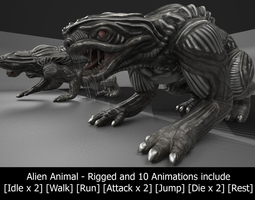 alien animal rigged and animated low-poly 3d asset