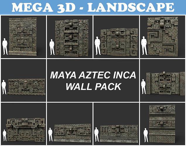 Low poly Mayan Inca Aztec Wall Modular Pack Mossy 210616