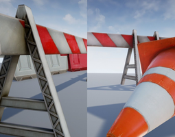 game-ready road objects - traffic - low poly 3d asset