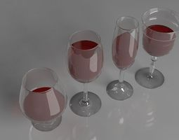 wine glass kitchen drinkglass 3D model