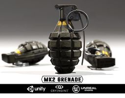 3d asset mk2 grenade - models and textures low-poly