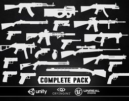 complete weapons pack - models and textures low-poly