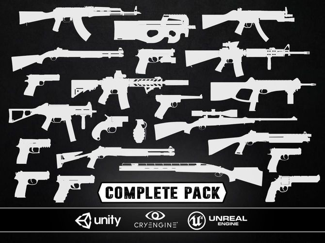 complete weapons pack - models and textures 3d model low-poly obj fbx tga 1