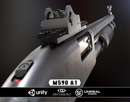 low-poly mossberg 590a1 - model and textures