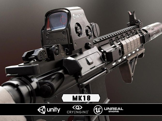 mk18 - model and textures 3d model low-poly obj fbx tga 1
