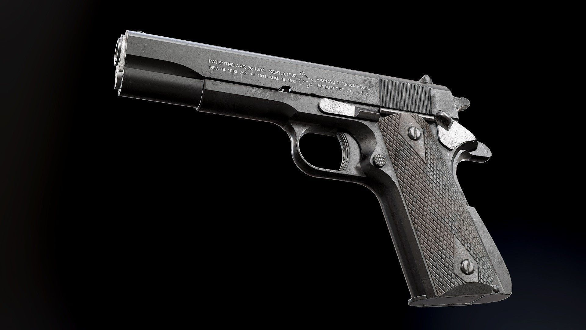 Colt 1911 Black and Chrome - Model and Textures | 3D model