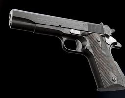 low-poly 3d asset colt 1911 black and chrome - model and textures