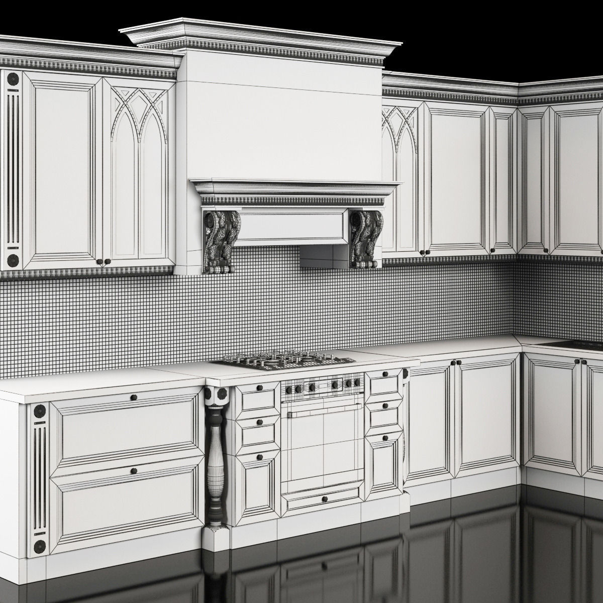 Classic Kitchen 3D Model MAX
