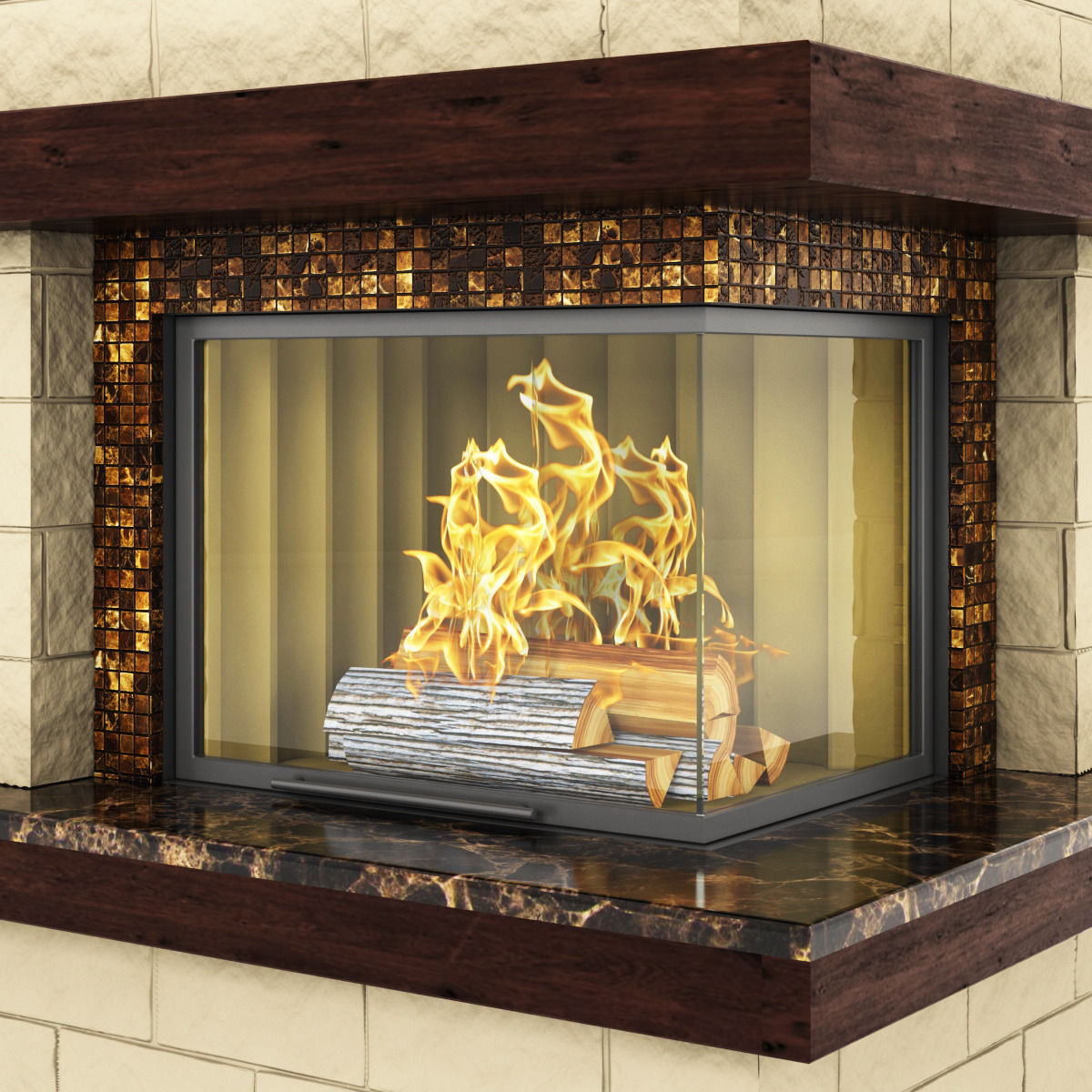 modern marble fireplace 3d model deco cgtrader